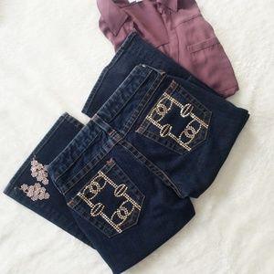 Bebe Kayla Rhinestone Embellished Flare Jeans 26P
